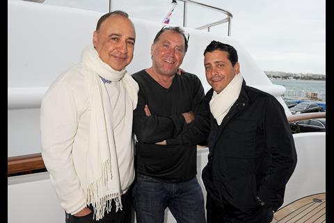 Aviv Gelardi and David Glasser at a lunch hosted by Len Blavatnik, Harvey Weinstein and Warner Music